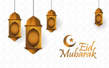 Eid Mubarak with lantern and white background