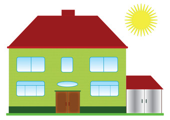Villa with sun. Colored family a little house in the isolated, vector format.
