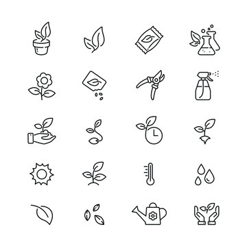 Plants related icons: thin vector icon set, black and white kit