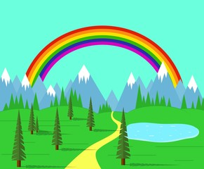 Wall Murals Green coral Road in the Valley among Mountains with Rainbow