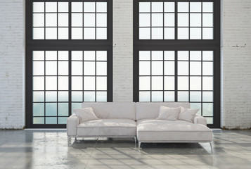 Bright airy modern attic conversion living room