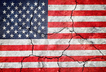 Grunge Flag of USA on cracked surface as background