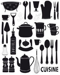 Vecteur illustrations d'ustensiles de cuisine
