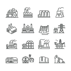 Industrial factory buildings icons: thin vector icon set, black and white kit