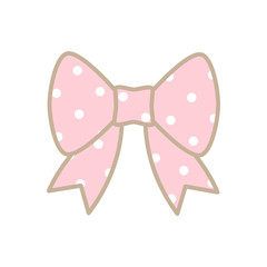Cute pink bow with white dot isolated on white background.