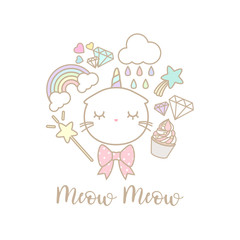 Cute cat unicorn set on white background. There are cute elements such as rainbow, cloud and cupcake.