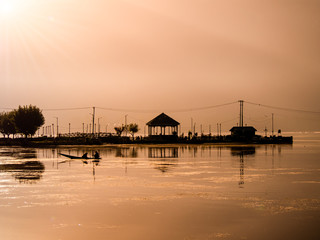 silhouette image - view of river before sunrise in Kashmir , India