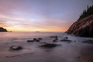 Pre-sunrise long exposure of Sand Beach in Acadia National Park