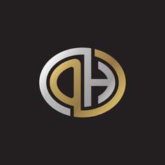 Initial letter OH, looping line, ellipse shape logo, silver gold color on black background