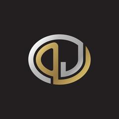 Initial letter OJ, looping line, ellipse shape logo, silver gold color on black background