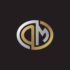 Initial letter OM, looping line, ellipse shape logo, silver gold color on black background