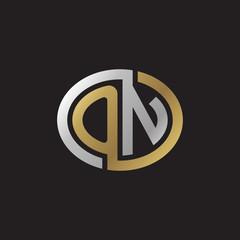Initial letter ON, looping line, ellipse shape logo, silver gold color on black background