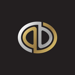 Initial letter OO, looping line, ellipse shape logo, silver gold color on black background