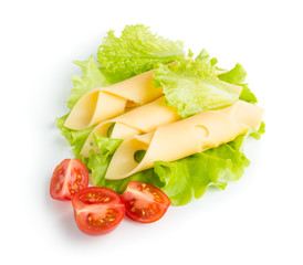 Cheese slices with cherry tomatoes