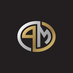 Initial letter PM, looping line, ellipse shape logo, silver gold color on black background