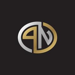 Initial letter PN, looping line, ellipse shape logo, silver gold color on black background