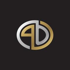 Initial letter PO, looping line, ellipse shape logo, silver gold color on black background