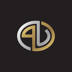 Initial letter PU, looping line, ellipse shape logo, silver gold color on black background