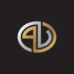 Initial letter PV, PU, looping line, ellipse shape logo, silver gold color on black background