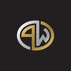 Initial letter PW, looping line, ellipse shape logo, silver gold color on black background