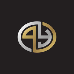 Initial letter PY, looping line, ellipse shape logo, silver gold color on black background