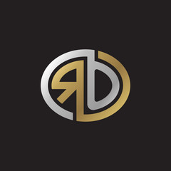 Initial letter RO, looping line, ellipse shape logo, silver gold color on black background