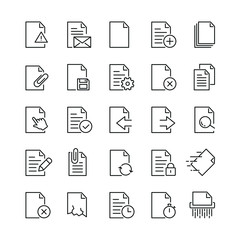 Document related icons: thin vector icon set, black and white kit