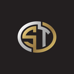Initial letter ST, looping line, ellipse shape logo, silver gold color on black background