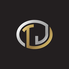 Initial letter TJ, looping line, ellipse shape logo, silver gold color on black background