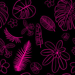 seamless pattern Tropical collection. Botanical hand drawn illustration of sketch objects with hand lettering exotic summer aloha tropic.