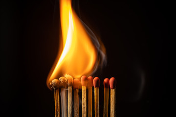 Flames of matches