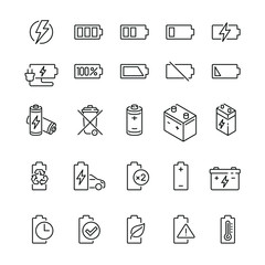 Batteries related icons: thin vector icon set, black and white kit