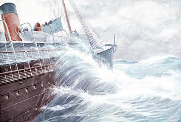 Fahrt auf dem Atlantischen Ozean im Winter - 205638659