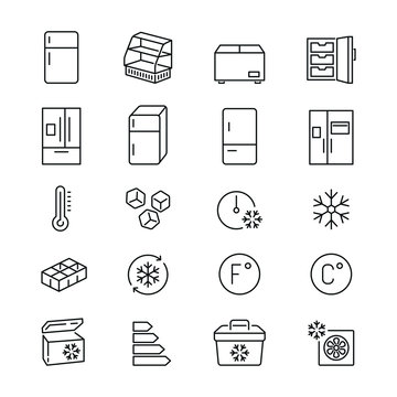 Fridge related icons: thin vector icon set, black and white kit