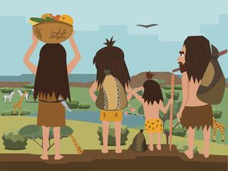 cavemen family wanders at Africa cartoon