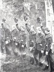 Eine Reihe von Männern heben ihren Hut zum Gruß