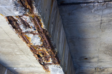 Damaged bridge support close - up transportatin concrete