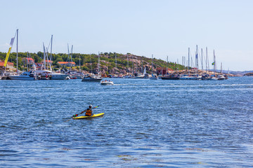 Kayaking in the Swedish archipelago in the summer