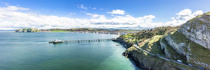 Aerial view of Llandudno with pier in Wales - United Kingdom