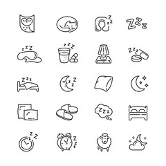 Sleep related icons: thin vector icon set, black and white kit
