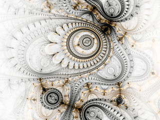 Yellow and black fractal machine, digital artwork for creative graphic design