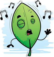 Cartoon Leaf Singing