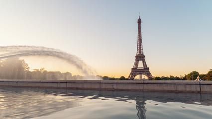 Paris Eiffel Tower at sunrise