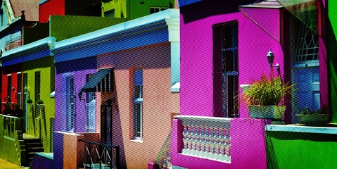 Landscape with colorful Houses in Bo-Kaap Cape Town