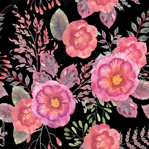 watercolor seamless floral pattern in very high resolution for