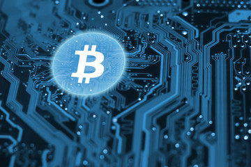 Bitcoin crypto currency technology concept on blue background. Virtual blockchain on integrated circuit.