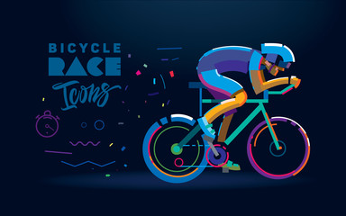 Custom vertical slats sports with your photo Vector cyclist. Cycling race illustration. Flat style