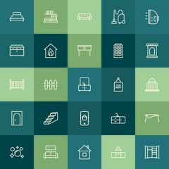 Modern Simple Set of buildings, furniture, housekeeping Vector outline Icons. Contains such Icons as  couch,  domestic,  home,  storage and more on green background. Fully Editable. Pixel Perfect.