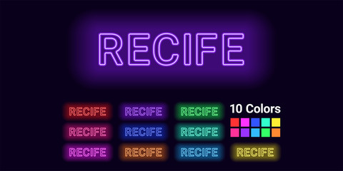 Neon name of Recife city