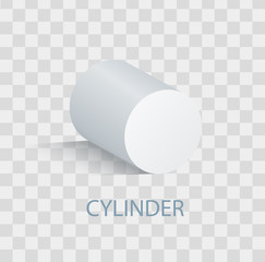 White Cylinder Geometric Figure that Casts Shade